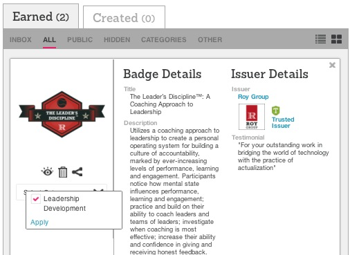 Create badge categories