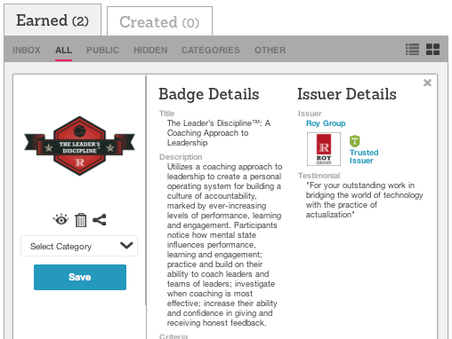 Manage your Roy Group badges